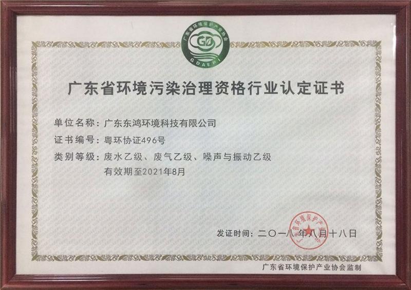 环境污染治理资格认证
